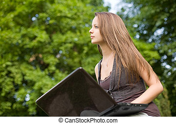 Brunette cutie and her laptop. - Beautiful brunette young ...