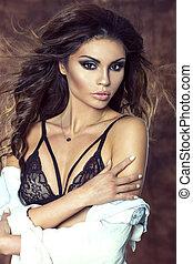 brunette, dame, sensueel, lingerie.