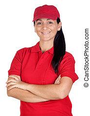 Brunette dealer with red uniform
