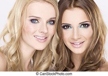 brunette, -, deux, blonds, sourire, amis, girl