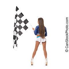 brunette, drapeau, checkered, longues jambes, vue postérieure