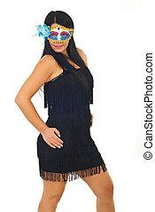 Brunette elegant woman with mask