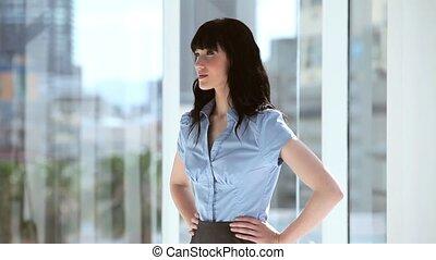 brunette, elle, femme affaires, placer, mains, sourire, hanches