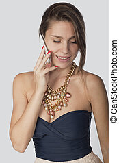 brunette, en, een, mobiele telefoon