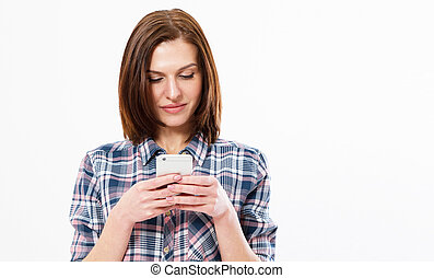 brunette, espace, image, blanc, sms, femme, fond, dactylographie, utilisation, sourire, copie, girl, smartphone., heureux