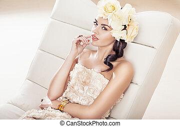brunette, fabuleux, femme, fleur, joli, chapeau