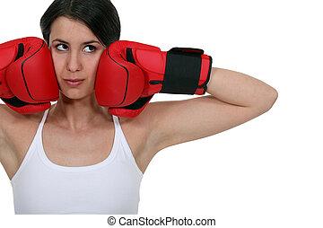 Brunette female boxer