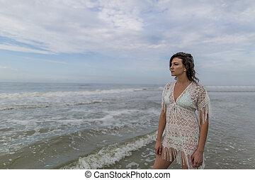 Brunette Female Model At The Beach