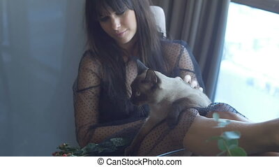 Brunette female sitting with a cat - Brunette female wearing...