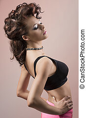brunette female with curly hair-style - fashion sexy woman...