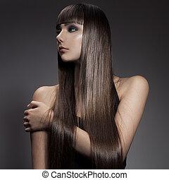 brunette, femme, cheveux, portrait, long, directement, beau