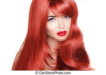 brunette, fille femme, mode, beauté, hair., modèle, long, isolé, sain, arrière-plan., blanc rouge
