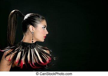 Brunette from India profile fashion portrait