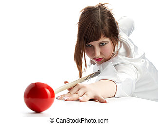 brunette game of billiards on white background