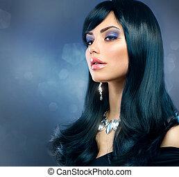 brunette, gezonde , makeup, langharige, girl., black , luxe, vakantie