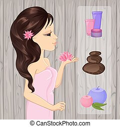 Brunette Girl And Spa Elements