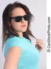 brunette, girl, bleu