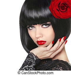 Brunette girl. Bob hairstyle. Makeup. Red Manicured nails. Fashi