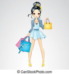 Brunette Girl Do Shopping - Vector illustration of beautiful...