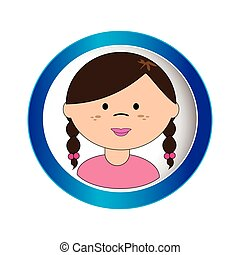 brunette girl face with braided hair in circular frame