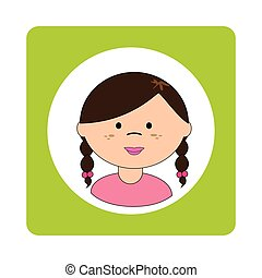 brunette girl face with braided hair in square frame