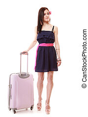 Brunette girl female tourist in dress with suitcase. Travel tourism.