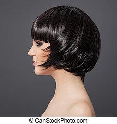 brunette, girl., hair., hairstyle., sain, beau