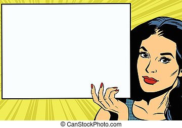 Brunette girl holding a blank rectangular poster pop art...