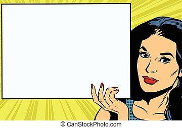 Brunette girl holding a blank rectangular poster pop art...