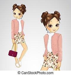 Brunette Girl In Pink Jacket
