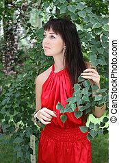 Brunette girl in red