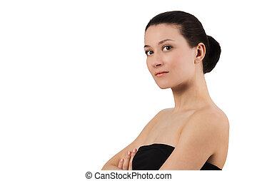 Brunette girl isolated on white background