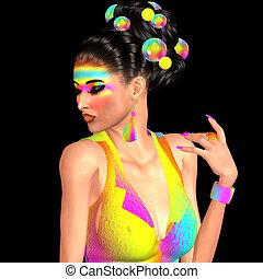 Brunette girl long, shiny wavy hair