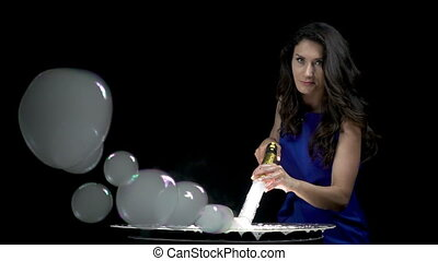 Brunette girl making smoky soap bubbles