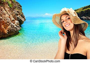 Brunette girl on the beach
