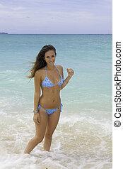 brunette, girl, plage