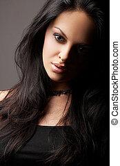 brunette girl posing on dark background - Fashion girl...