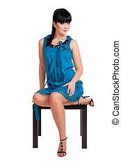 brunette, girl, robe, bleu, beau