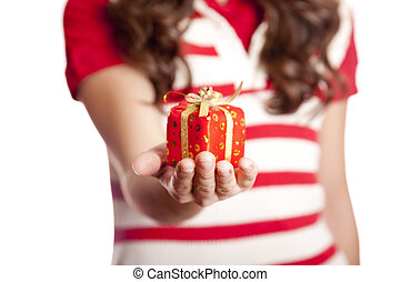 Brunette girl show you present box.