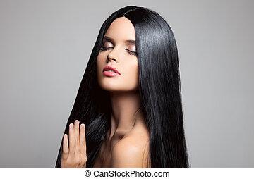 brunette, girl., skønhed, hair., model, sunde, længe, w, smukke