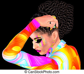 Brunette girl wavy hair, makeup