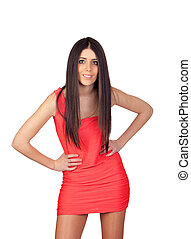 Brunette girl with a red dress