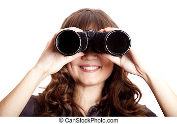 Brunette girl with binocular.