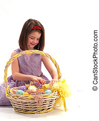Brunette Girl with Easter Basket