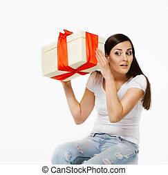Brunette girl with present