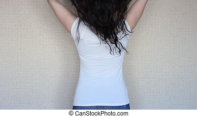 Brunette girl with very long and hair
