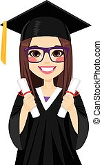 Beautiful brunette girl on graduation day with two diploma on both hands