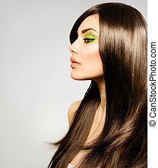 brunette hår, girl., brun, sunde, længe, smukke
