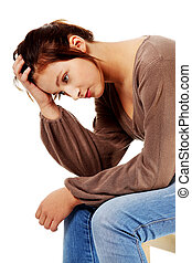 brunette, haar, denken, verdrietige , aandoenlijk, head.