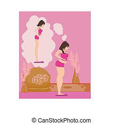 brunette, haar, gewicht toonladders, controleren, overgewicht, meisje